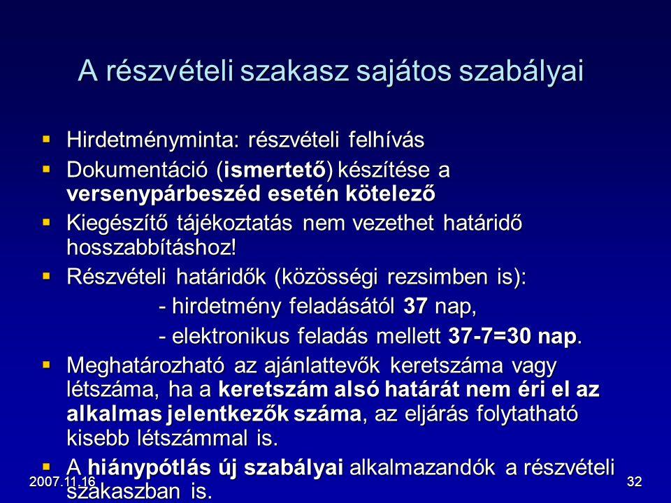 2007.11.1632 A részvételi szakasz sajátos szabályai  Hirdetményminta: részvételi felhívás  Dokumentáció (ismertető) készítése a versenypárbeszéd ese