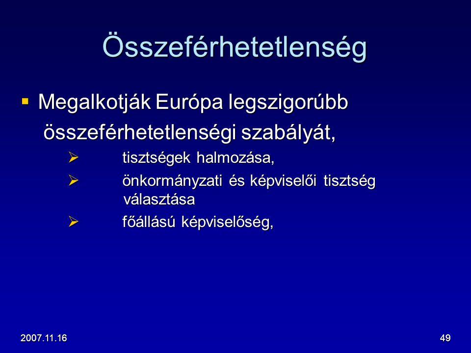 2007.11.1649 Összeférhetetlenség  Megalkotják Európa legszigorúbb összeférhetetlenségi szabályát, összeférhetetlenségi szabályát,  tisztségek halmoz
