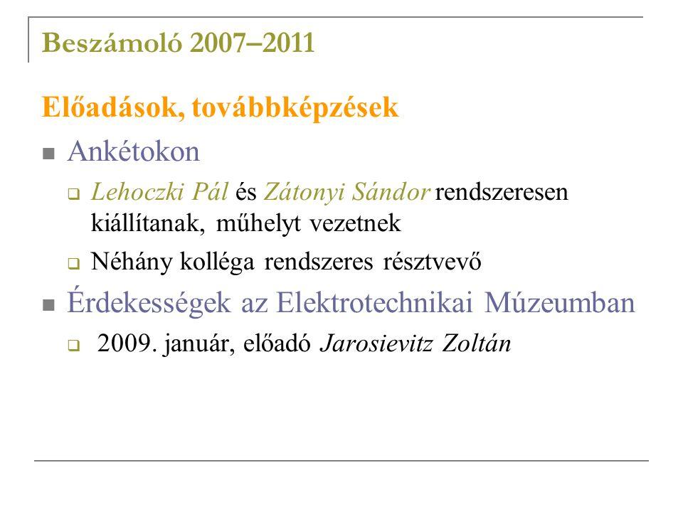 Beszámoló 2007–2011 Előadások, továbbképzések Ankétokon  Lehoczki Pál és Zátonyi Sándor rendszeresen kiállítanak, műhelyt vezetnek  Néhány kolléga rendszeres résztvevő Érdekességek az Elektrotechnikai Múzeumban  2009.