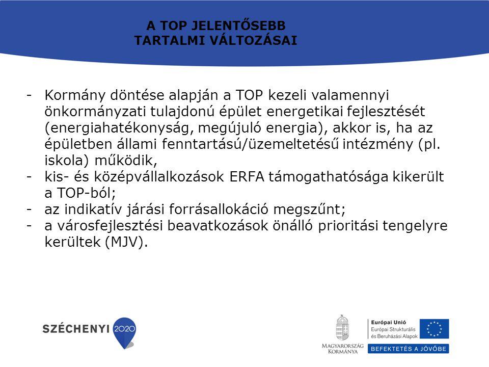 -Kormány döntése alapján a TOP kezeli valamennyi önkormányzati tulajdonú épület energetikai fejlesztését (energiahatékonyság, megújuló energia), akkor is, ha az épületben állami fenntartású/üzemeltetésű intézmény (pl.