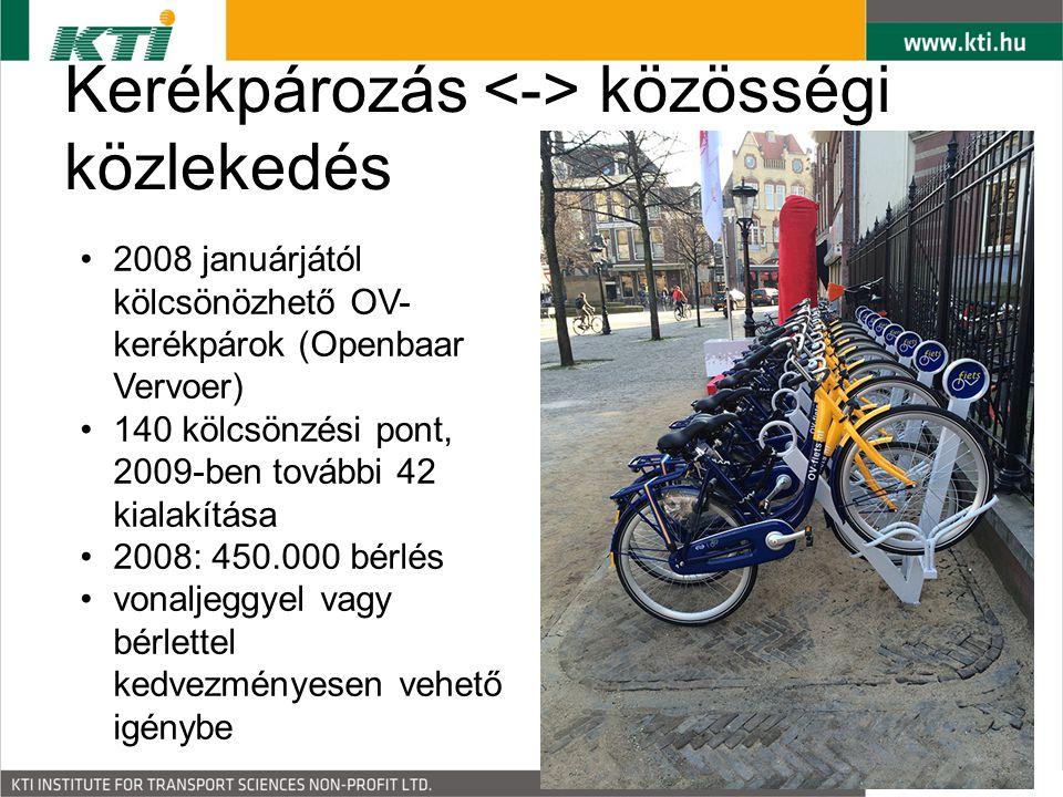 Kerékpározás közösségi közlekedés 2008 januárjától kölcsönözhető OV- kerékpárok (Openbaar Vervoer) 140 kölcsönzési pont, 2009-ben további 42 kialakítása 2008: 450.000 bérlés vonaljeggyel vagy bérlettel kedvezményesen vehető igénybe