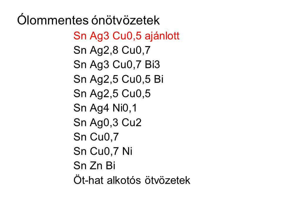 Ólommentes ónötvözetek Sn Ag3 Cu0,5 ajánlott Sn Ag2,8 Cu0,7 Sn Ag3 Cu0,7 Bi3 Sn Ag2,5 Cu0,5 Bi Sn Ag2,5 Cu0,5 Sn Ag4 Ni0,1 Sn Ag0,3 Cu2 Sn Cu0,7 Sn Cu