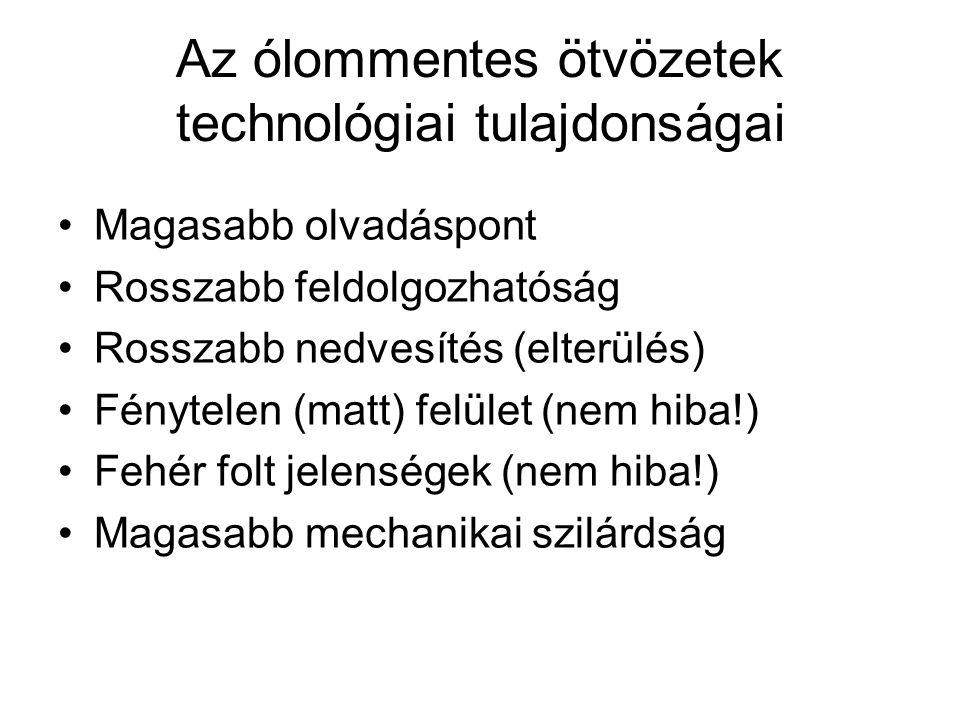 Az ólommentes ötvözetek technológiai tulajdonságai Magasabb olvadáspont Rosszabb feldolgozhatóság Rosszabb nedvesítés (elterülés) Fénytelen (matt) fel