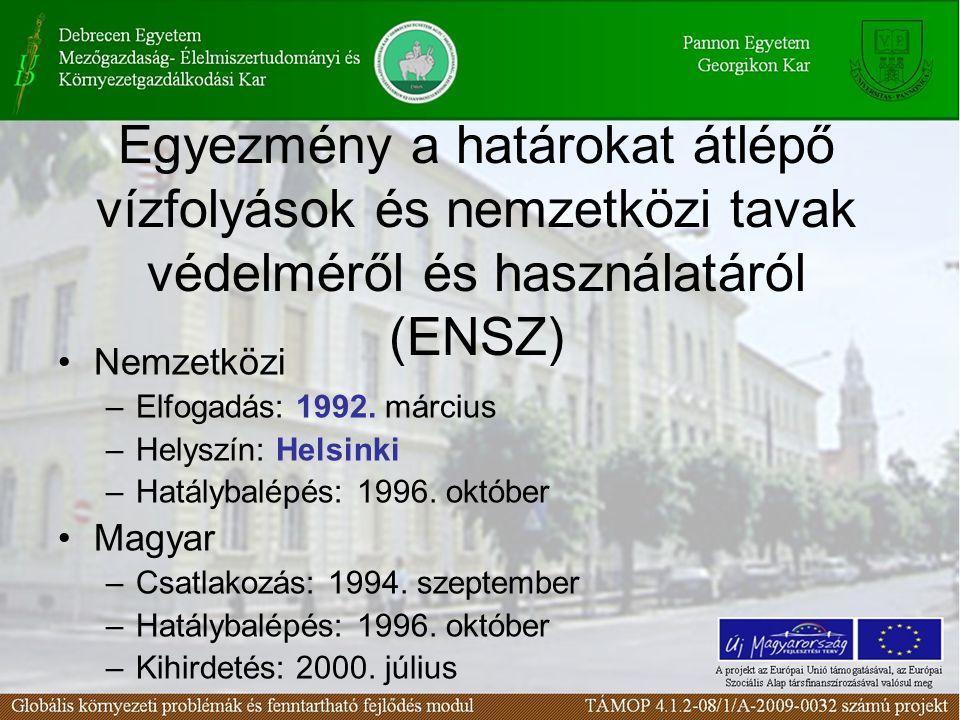 Egyezmény a határokat átlépő vízfolyások és nemzetközi tavak védelméről és használatáról (ENSZ) Nemzetközi –Elfogadás: 1992. március –Helyszín: Helsin