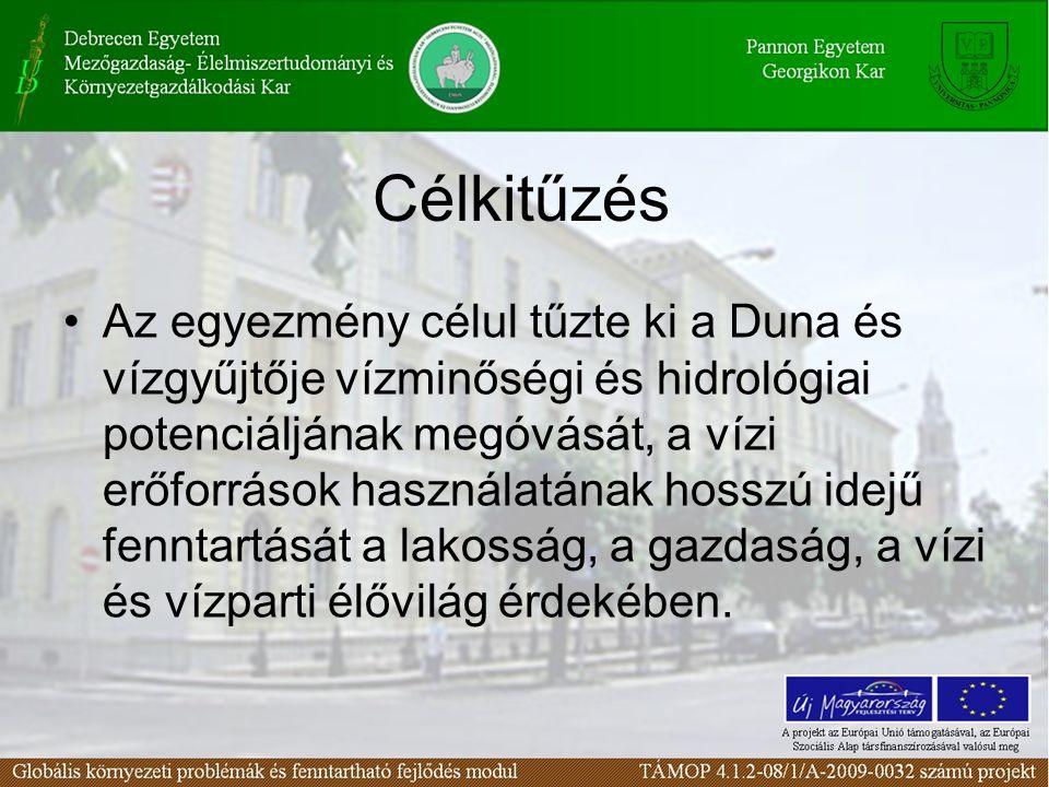 Célkitűzés Az egyezmény célul tűzte ki a Duna és vízgyűjtője vízminőségi és hidrológiai potenciáljának megóvását, a vízi erőforrások használatának hos