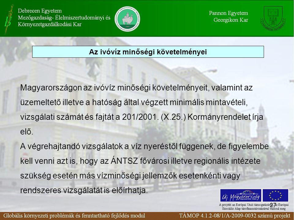 27 Magyarországon az ivóvíz minőségi követelményeit, valamint az üzemeltető illetve a hatóság által végzett minimális mintavételi, vizsgálati számát é