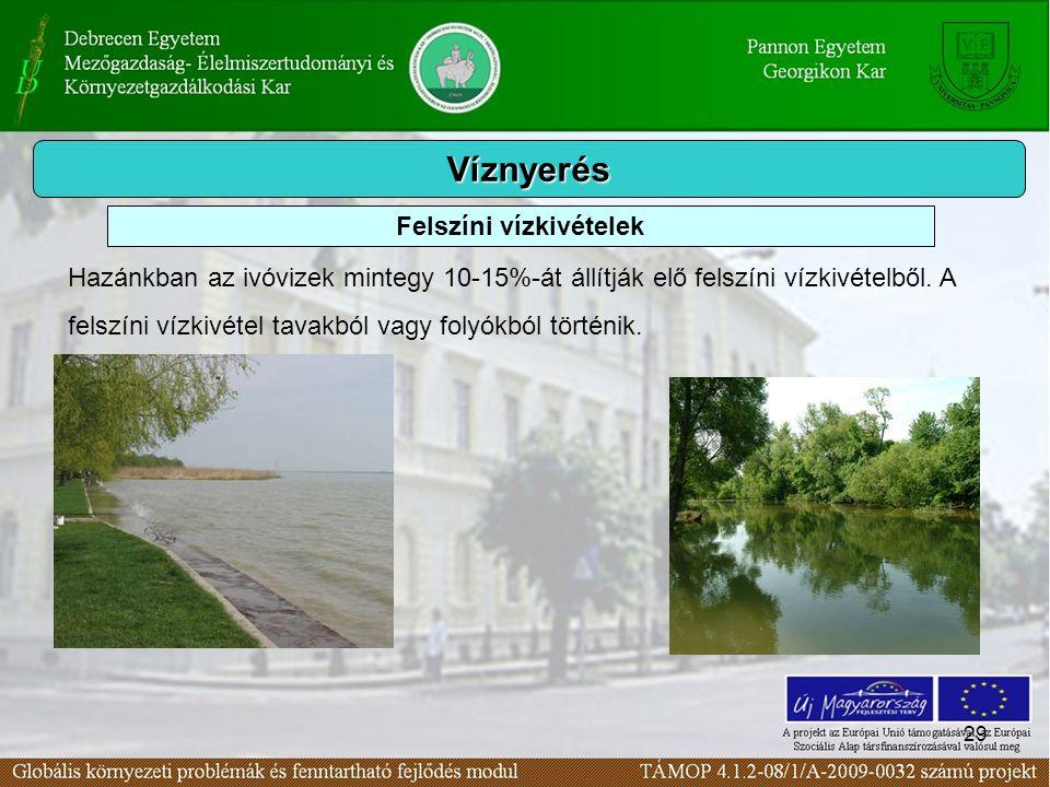 29 Víznyerés Hazánkban az ivóvizek mintegy 10-15%-át állítják elő felszíni vízkivételből. A felszíni vízkivétel tavakból vagy folyókból történik. Fels