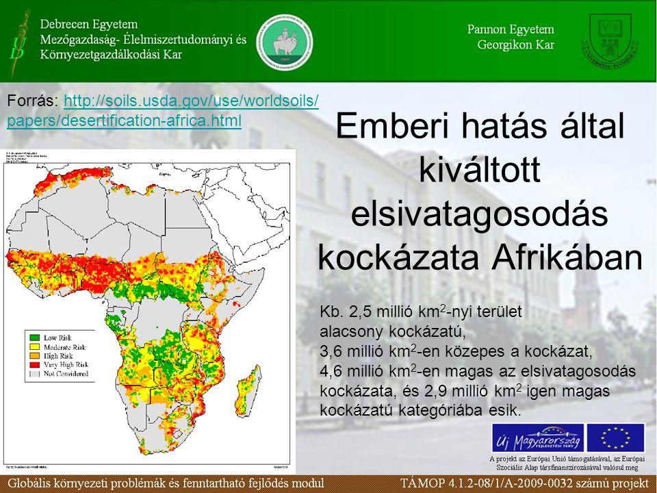Emberi hatás által kiváltott elsivatagosodás kockázata Afrikában Kb. 2,5 millió km 2 -nyi terület alacsony kockázatú, 3,6 millió km 2 -en közepes a ko