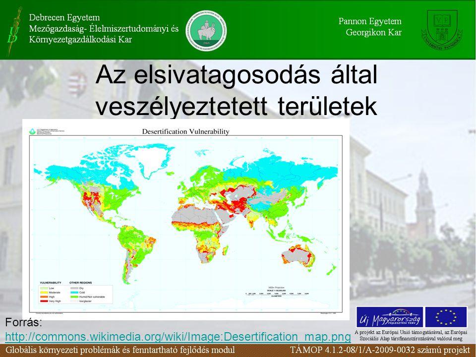 Az elsivatagosodás által fenyegetett területek Európában Forrás: http://www.grid.unep.ch/product/http://www.grid.unep.ch/product/ publication/freshwater_europe/consumption.php