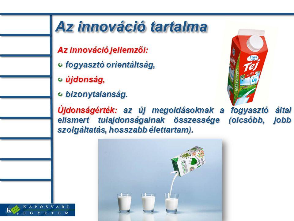 Az innováció tartalma Újdonságérték: az új megoldásoknak a fogyasztó által elismert tulajdonságainak összessége (olcsóbb, jobb szolgáltatás, hosszabb élettartam).