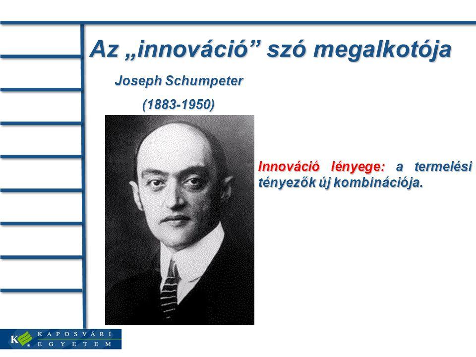 """Az """"innováció szó megalkotója Joseph Schumpeter (1883-1950) Innováció lényege: a termelési tényezők új kombinációja."""