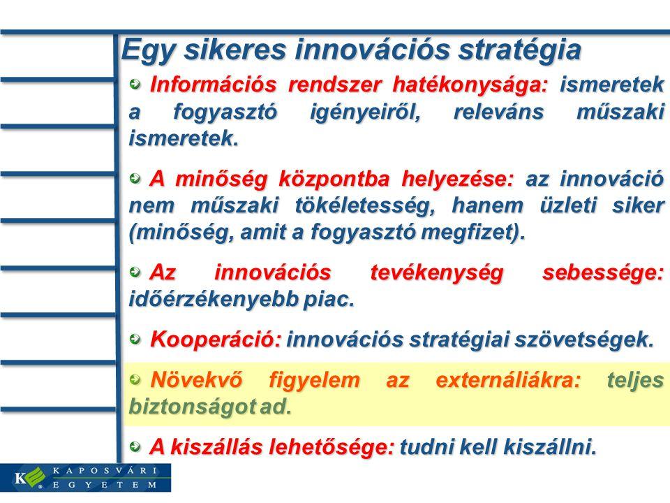 Egy sikeres innovációs stratégia Információs rendszer hatékonysága: ismeretek a fogyasztó igényeiről, releváns műszaki ismeretek.