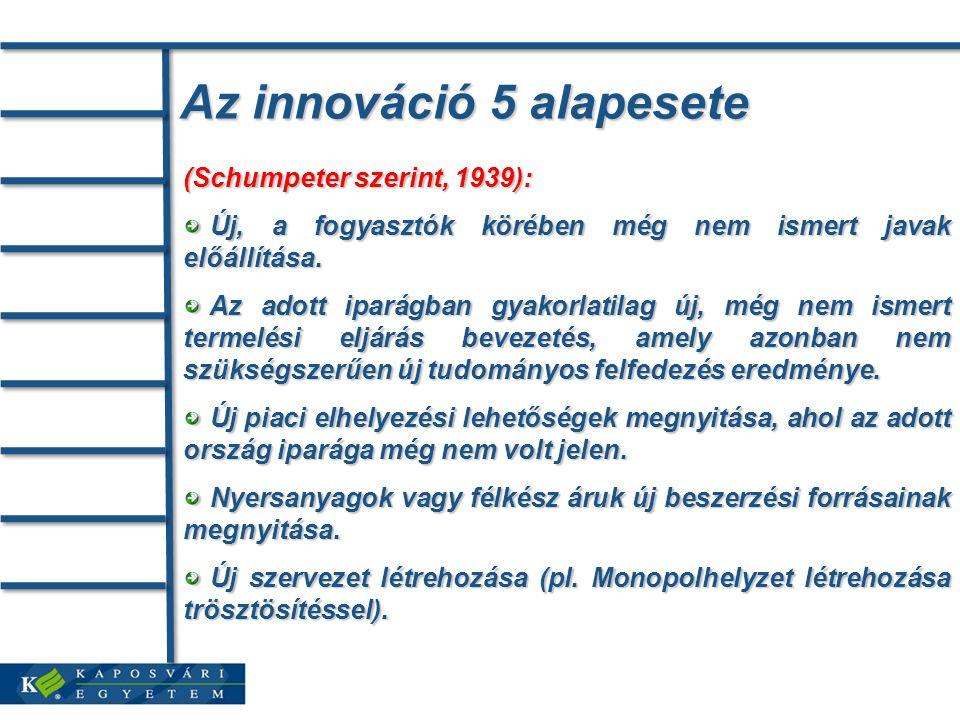 Az innováció 5 alapesete (Schumpeter szerint, 1939): Új, a fogyasztók körében még nem ismert javak előállítása.