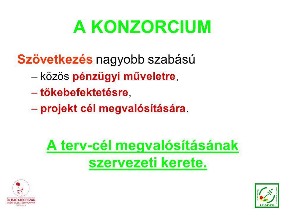 A KONZORCIUM Szövetkezés nagyobb szabású –közös pénzügyi műveletre, –tőkebefektetésre, –projekt cél megvalósítására.