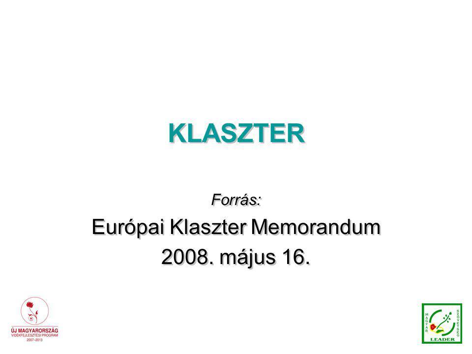 KLASZTER Forrás: Európai Klaszter Memorandum 2008.