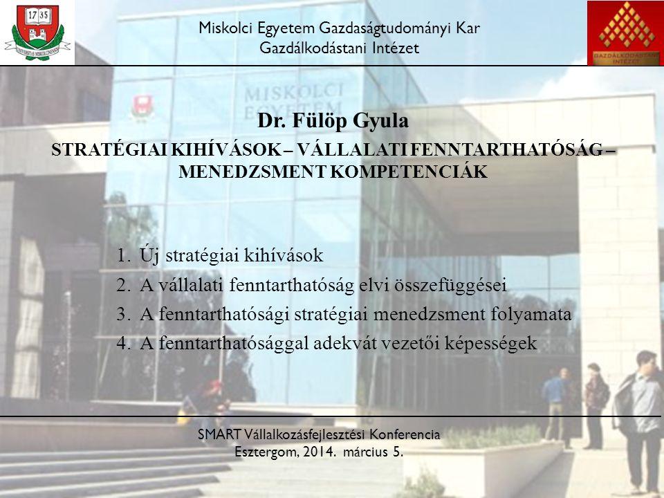 Dr. Fülöp Gyula STRATÉGIAI KIHÍVÁSOK – VÁLLALATI FENNTARTHATÓSÁG – MENEDZSMENT KOMPETENCIÁK 1.Új stratégiai kihívások 2.A vállalati fenntarthatóság el