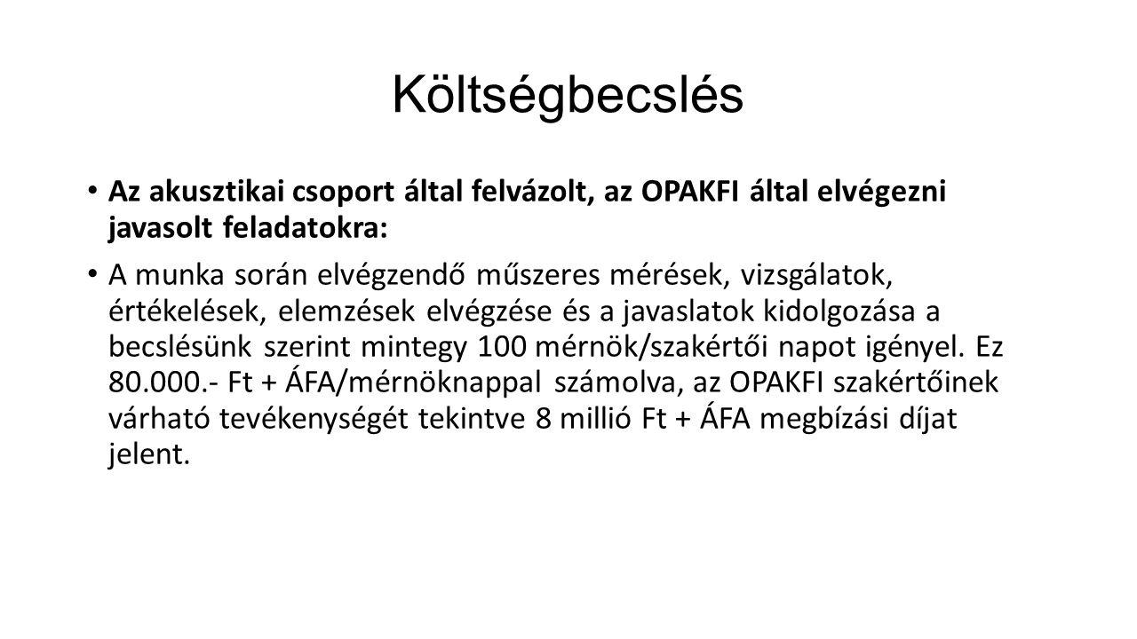 Költségbecslés Az akusztikai csoport által felvázolt, az OPAKFI által elvégezni javasolt feladatokra: A munka során elvégzendő műszeres mérések, vizsg
