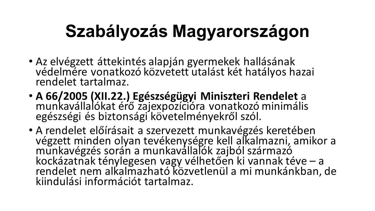 Szabályozás Magyarországon Az elvégzett áttekintés alapján gyermekek hallásának védelmére vonatkozó közvetett utalást két hatályos hazai rendelet tart