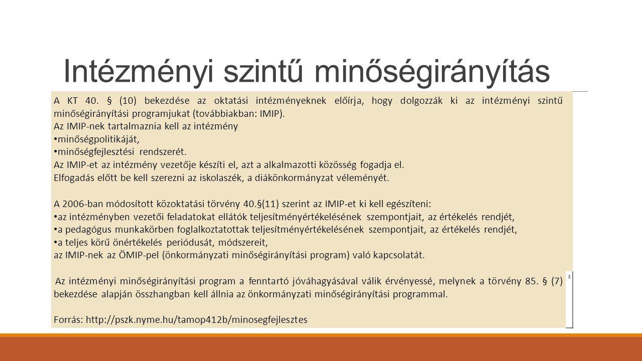 Intézményi szintű minőségirányítás A KT 40. § (10) bekezdése az oktatási intézményeknek előírja, hogy dolgozzák ki az intézményi szintű minőségirányít