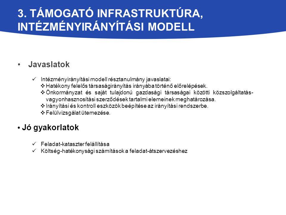 3. TÁMOGATÓ INFRASTRUKTÚRA, INTÉZMÉNYIRÁNYÍTÁSI MODELL Javaslatok Intézményirányítási modell résztanulmány javaslatai:  Hatékony felelős társaságirán