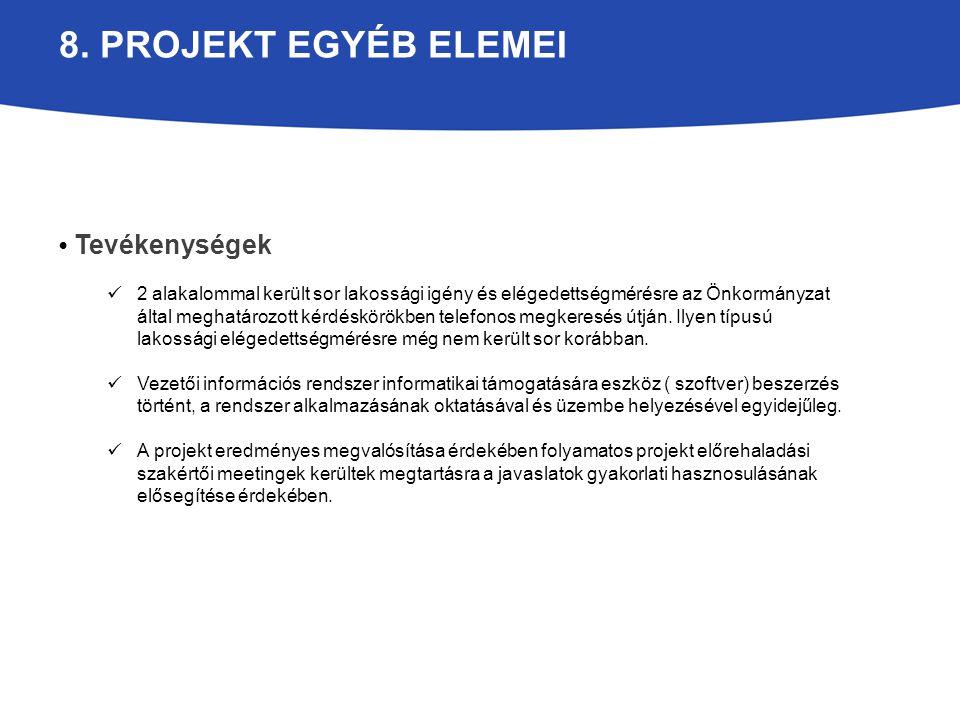 8. PROJEKT EGYÉB ELEMEI Tevékenységek 2 alakalommal került sor lakossági igény és elégedettségmérésre az Önkormányzat által meghatározott kérdéskörökb