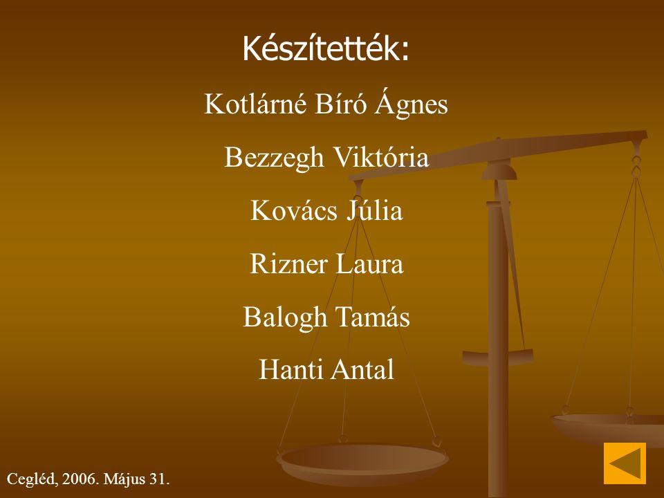 Készítették: Kotlárné Bíró Ágnes Bezzegh Viktória Kovács Júlia Rizner Laura Balogh Tamás Hanti Antal Cegléd, 2006. Május 31.
