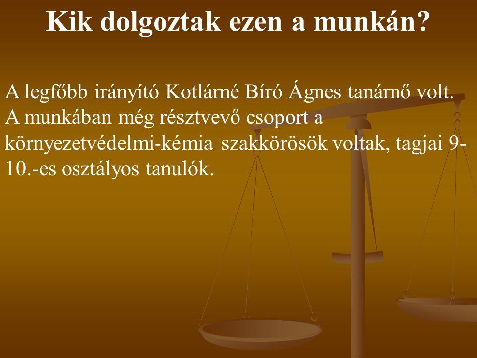 Kik dolgoztak ezen a munkán? A legfőbb irányító Kotlárné Bíró Ágnes tanárnő volt. A munkában még résztvevő csoport a környezetvédelmi-kémia szakkörösö