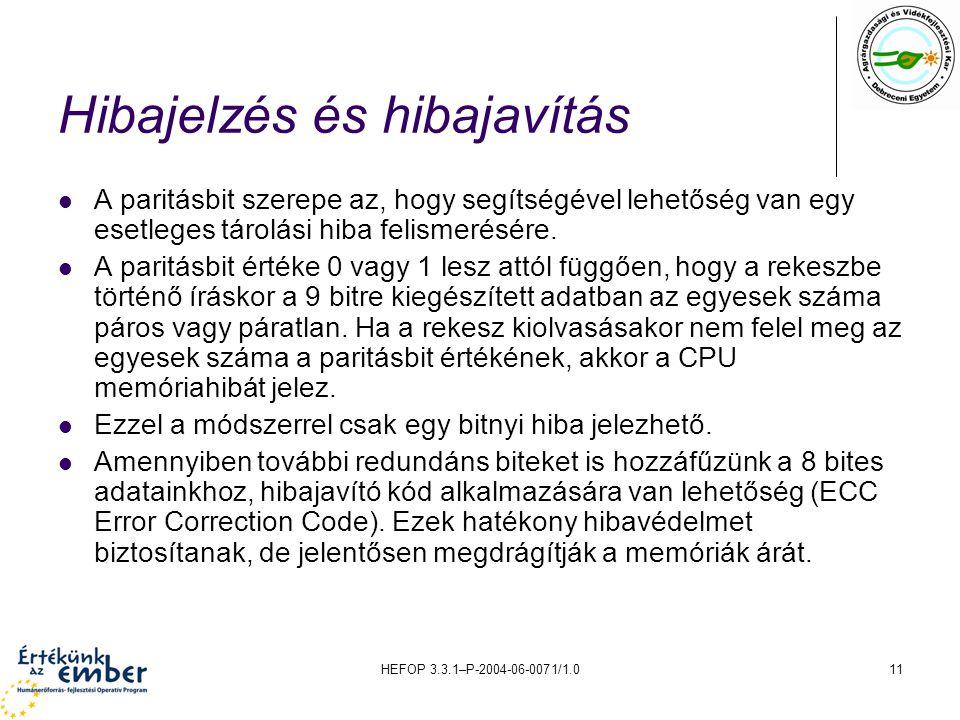 HEFOP 3.3.1–P-2004-06-0071/1.011 Hibajelzés és hibajavítás A paritásbit szerepe az, hogy segítségével lehetőség van egy esetleges tárolási hiba felismerésére.