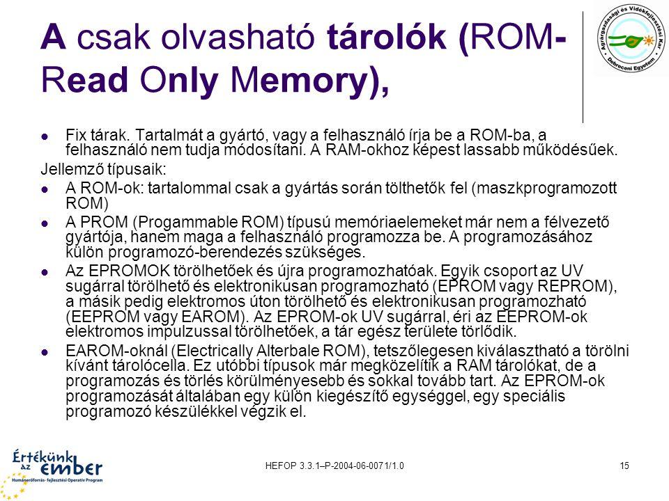 HEFOP 3.3.1–P-2004-06-0071/1.015 A csak olvasható tárolók (ROM- Read Only Memory), Fix tárak.
