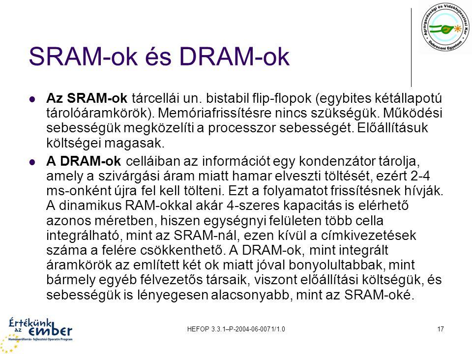 HEFOP 3.3.1–P-2004-06-0071/1.017 SRAM-ok és DRAM-ok Az SRAM-ok tárcellái un.