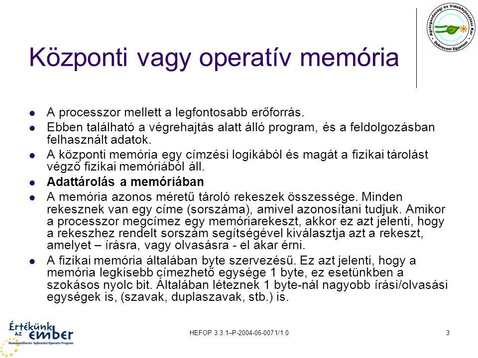 HEFOP 3.3.1–P-2004-06-0071/1.04 Adattárolás a memóriában A memória azonos méretű tároló rekeszek összessége.