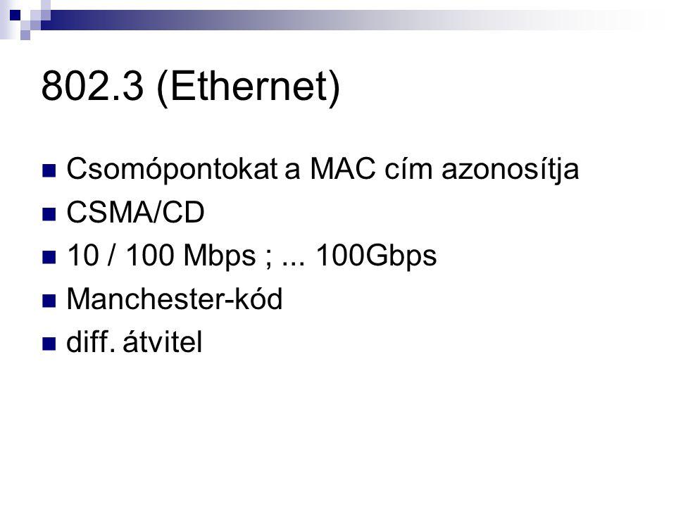 802.3 (Ethernet) Csomópontokat a MAC cím azonosítja CSMA/CD 10 / 100 Mbps ;...