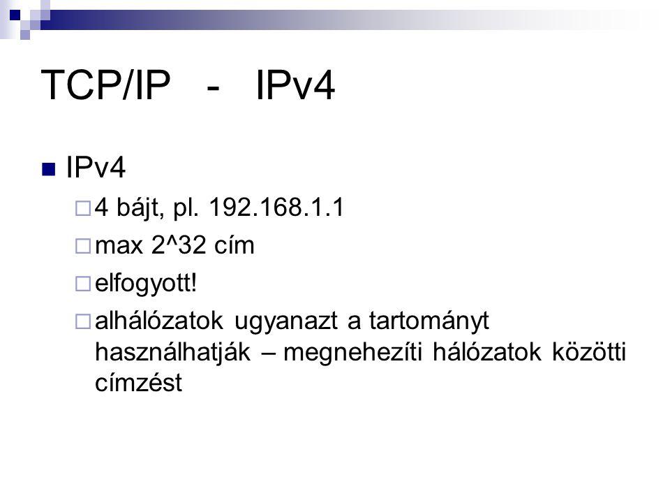 TCP/IP - IPv4 IPv4  4 bájt, pl.192.168.1.1  max 2^32 cím  elfogyott.