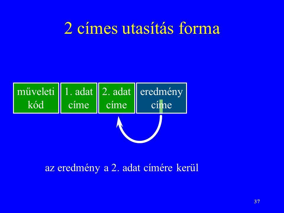 37 2 címes utasítás forma műveleti kód 1.adat címe 2.