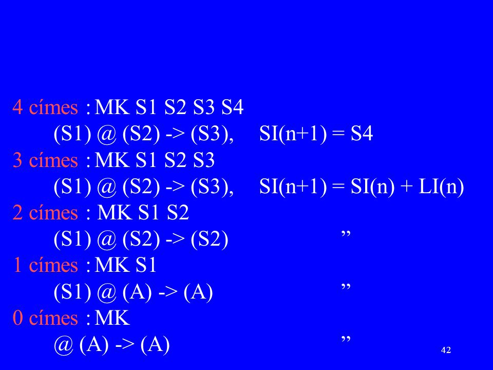 42 4 címes :MK S1 S2 S3 S4 (S1) @ (S2) -> (S3),SI(n+1) = S4 3 címes :MK S1 S2 S3 (S1) @ (S2) -> (S3),SI(n+1) = SI(n) + LI(n) 2 címes : MK S1 S2 (S1) @ (S2) -> (S2) 1 címes :MK S1 (S1) @ (A) -> (A) 0 címes :MK @ (A) -> (A)