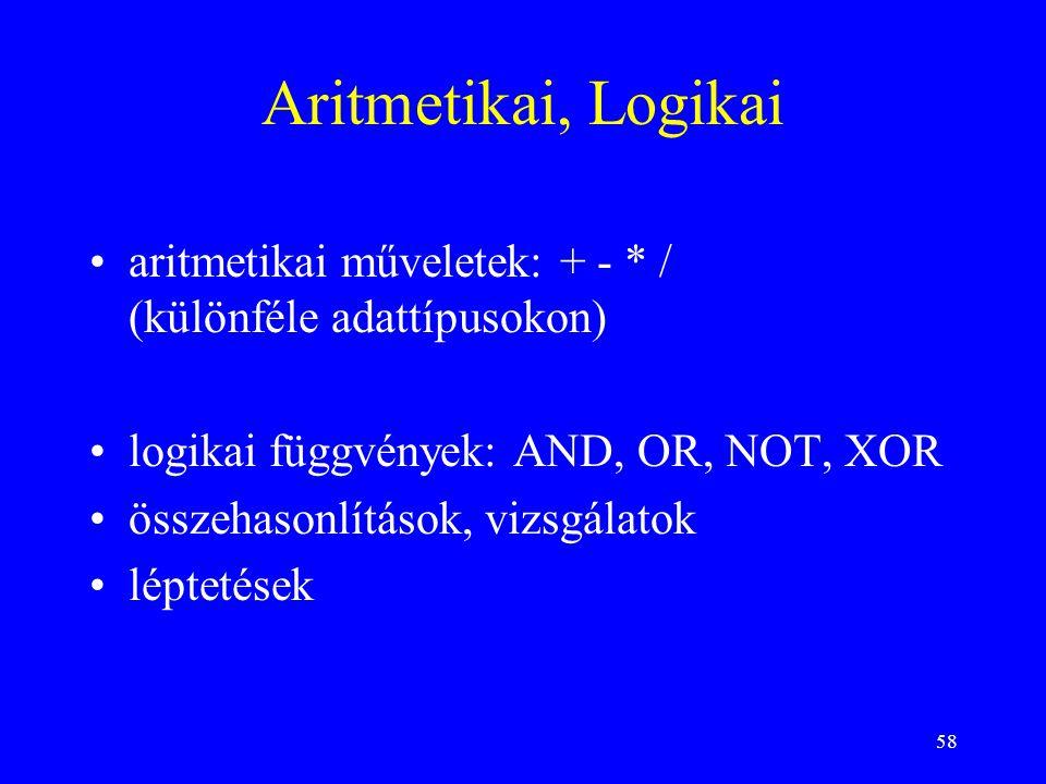 58 Aritmetikai, Logikai aritmetikai műveletek: + - * / (különféle adattípusokon) logikai függvények: AND, OR, NOT, XOR összehasonlítások, vizsgálatok léptetések