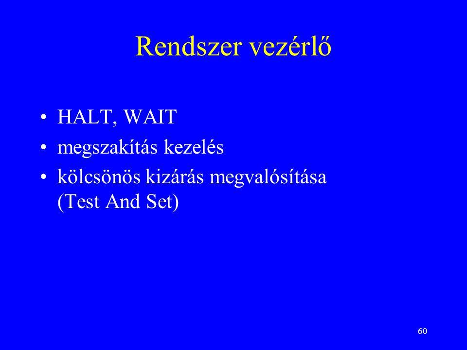 60 Rendszer vezérlő HALT, WAIT megszakítás kezelés kölcsönös kizárás megvalósítása (Test And Set)