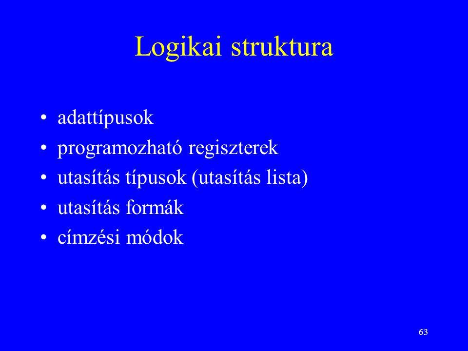 63 Logikai struktura adattípusok programozható regiszterek utasítás típusok (utasítás lista) utasítás formák címzési módok