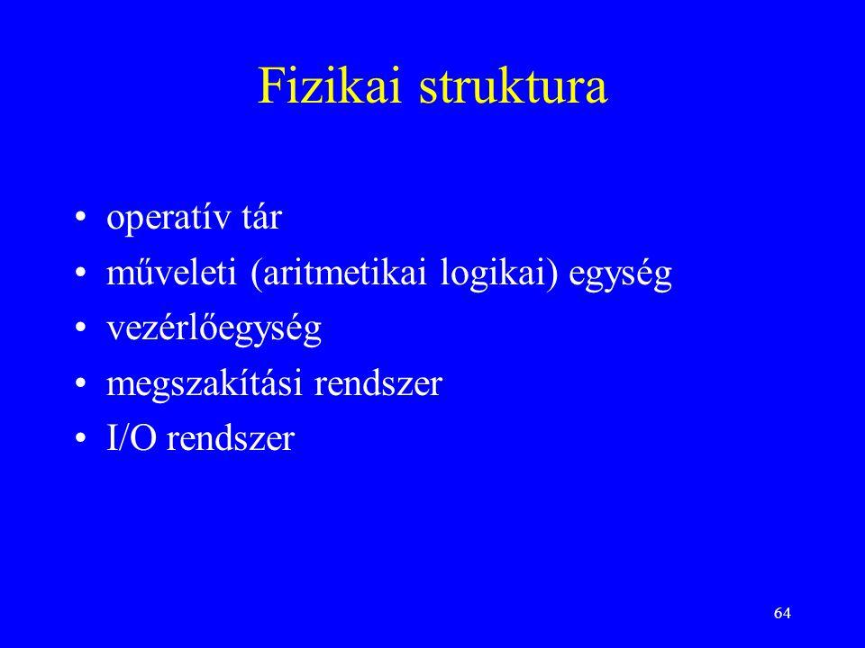64 Fizikai struktura operatív tár műveleti (aritmetikai logikai) egység vezérlőegység megszakítási rendszer I/O rendszer