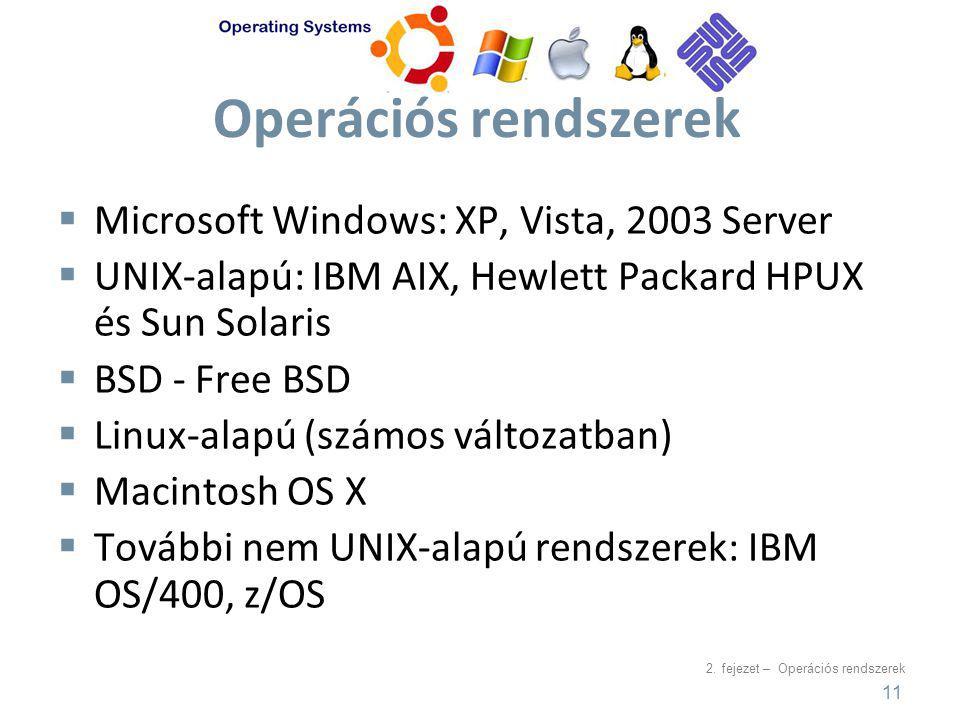 2. fejezet – Operációs rendszerek Operációs rendszerek  Microsoft Windows: XP, Vista, 2003 Server  UNIX-alapú: IBM AIX, Hewlett Packard HPUX és Sun