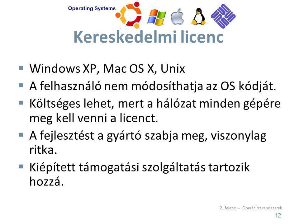 2. fejezet – Operációs rendszerek Kereskedelmi licenc  Windows XP, Mac OS X, Unix  A felhasználó nem módosíthatja az OS kódját.  Költséges lehet, m