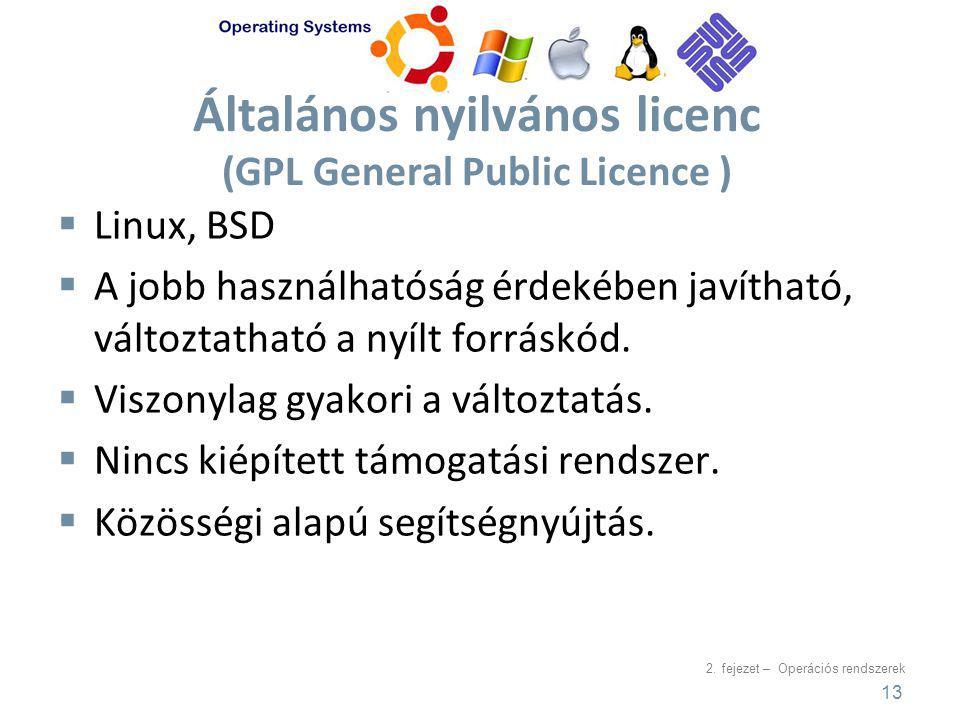 2. fejezet – Operációs rendszerek Általános nyilvános licenc (GPL General Public Licence )  Linux, BSD  A jobb használhatóság érdekében javítható, v