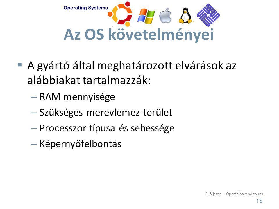 2. fejezet – Operációs rendszerek Az OS követelményei  A gyártó által meghatározott elvárások az alábbiakat tartalmazzák: – RAM mennyisége – Szüksége