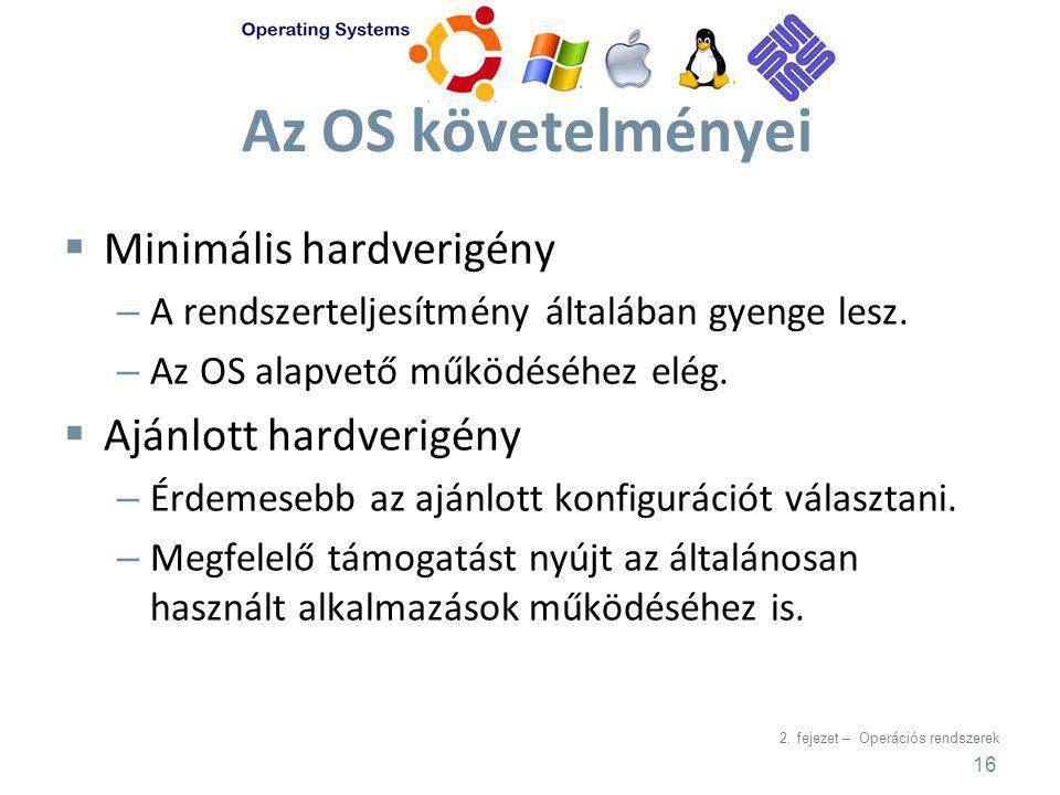 2. fejezet – Operációs rendszerek Az OS követelményei  Minimális hardverigény – A rendszerteljesítmény általában gyenge lesz. – Az OS alapvető működé
