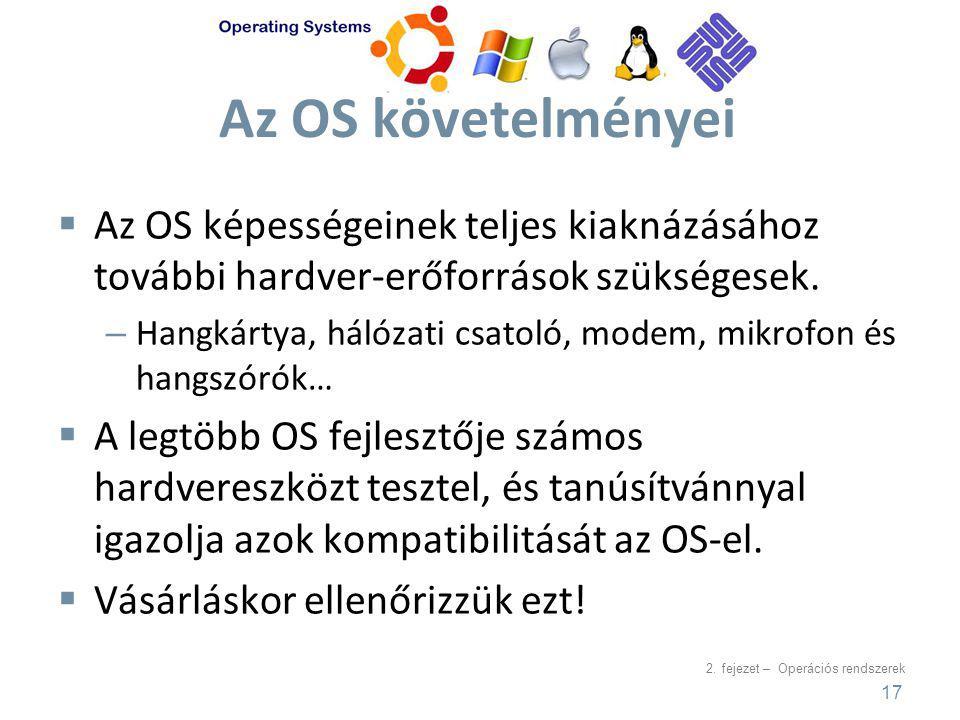 2. fejezet – Operációs rendszerek Az OS követelményei  Az OS képességeinek teljes kiaknázásához további hardver-erőforrások szükségesek. – Hangkártya