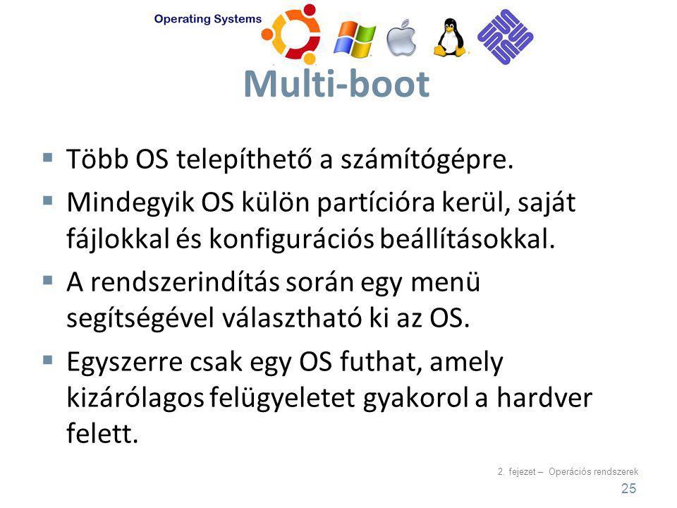 2.fejezet – Operációs rendszerek Multi-boot  Több OS telepíthető a számítógépre.