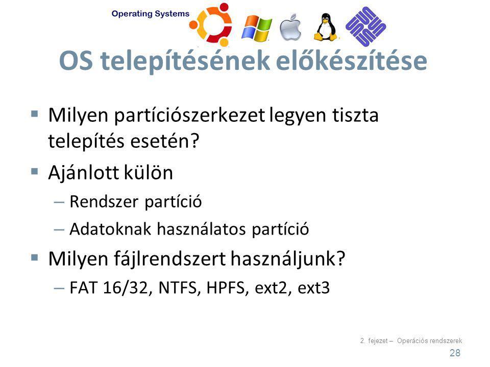 2. fejezet – Operációs rendszerek OS telepítésének előkészítése  Milyen partíciószerkezet legyen tiszta telepítés esetén?  Ajánlott külön – Rendszer