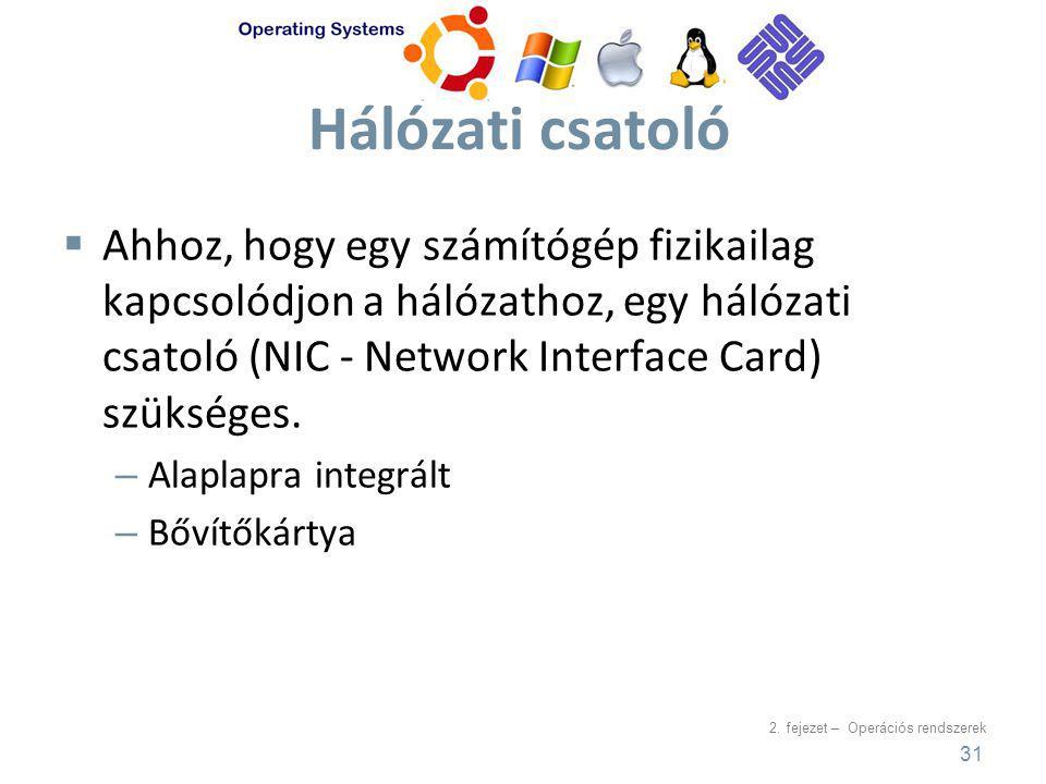 2. fejezet – Operációs rendszerek Hálózati csatoló  Ahhoz, hogy egy számítógép fizikailag kapcsolódjon a hálózathoz, egy hálózati csatoló (NIC - Netw