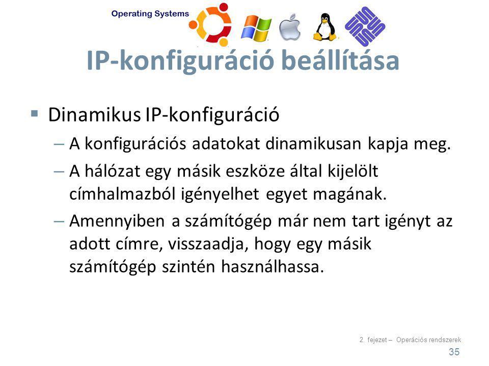 2. fejezet – Operációs rendszerek IP-konfiguráció beállítása  Dinamikus IP-konfiguráció – A konfigurációs adatokat dinamikusan kapja meg. – A hálózat
