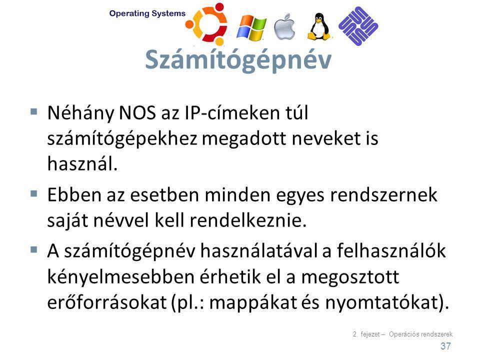 2. fejezet – Operációs rendszerek Számítógépnév  Néhány NOS az IP-címeken túl számítógépekhez megadott neveket is használ.  Ebben az esetben minden